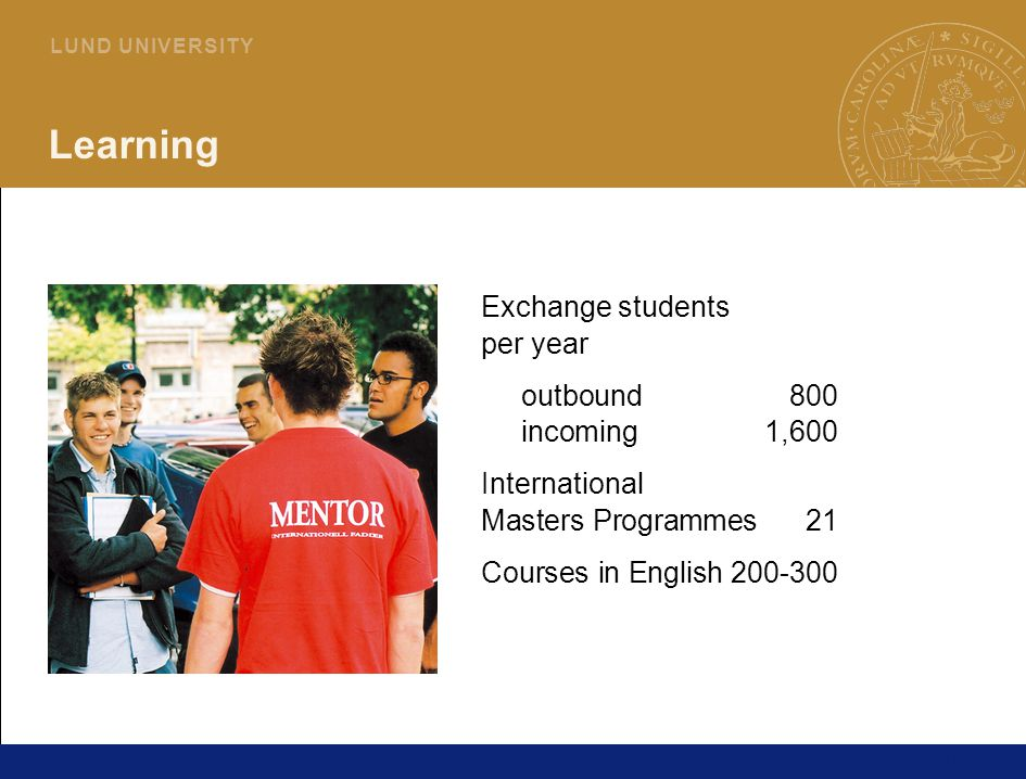 10 L U N D U N I V E R S I T Y Learning Exchange students per year outbound800 incoming1,600 International Masters Programmes21 Courses in English200-300