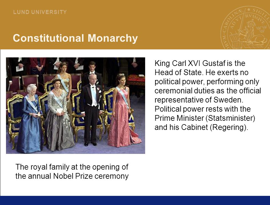 20 L U N D U N I V E R S I T Y Constitutional Monarchy King Carl XVI Gustaf is the Head of State.