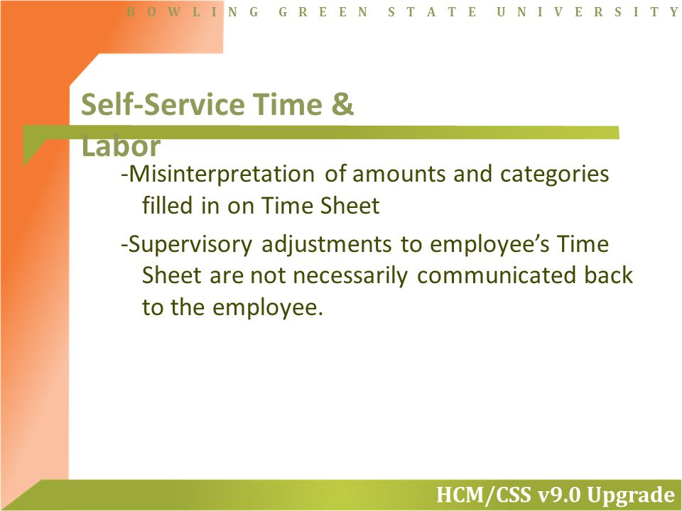 HCM/CSS v9.0 Upgrade B O W L I N G G R E E N S T A T E U N I V E R S I T Y -Misinterpretation of amounts and categories filled in on Time Sheet -Supervisory adjustments to employee's Time Sheet are not necessarily communicated back to the employee.