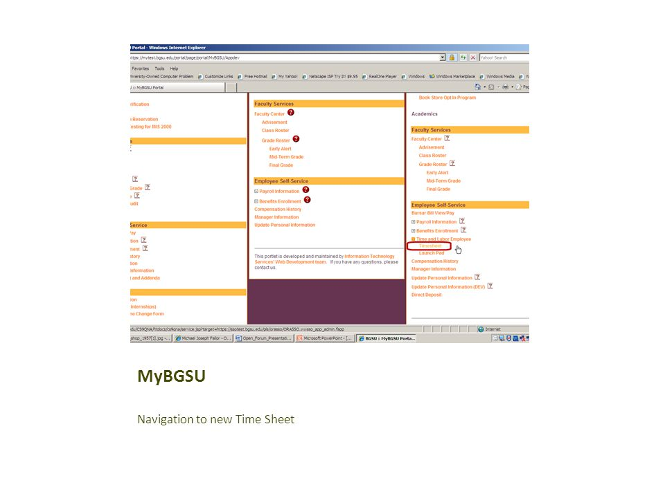 MyBGSU Navigation to new Time Sheet