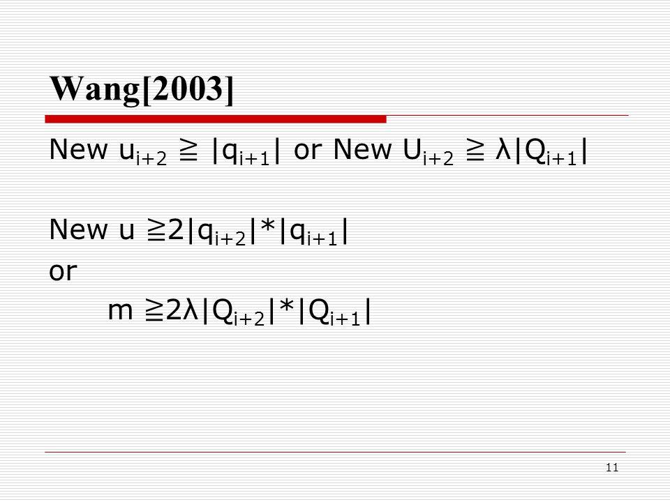 11 Wang[2003] New u i+2 ≧ |q i+1 | or New U i+2 ≧ λ|Q i+1 | New u ≧ 2|q i+2 |*|q i+1 | or m ≧ 2λ|Q i+2 |*|Q i+1 |