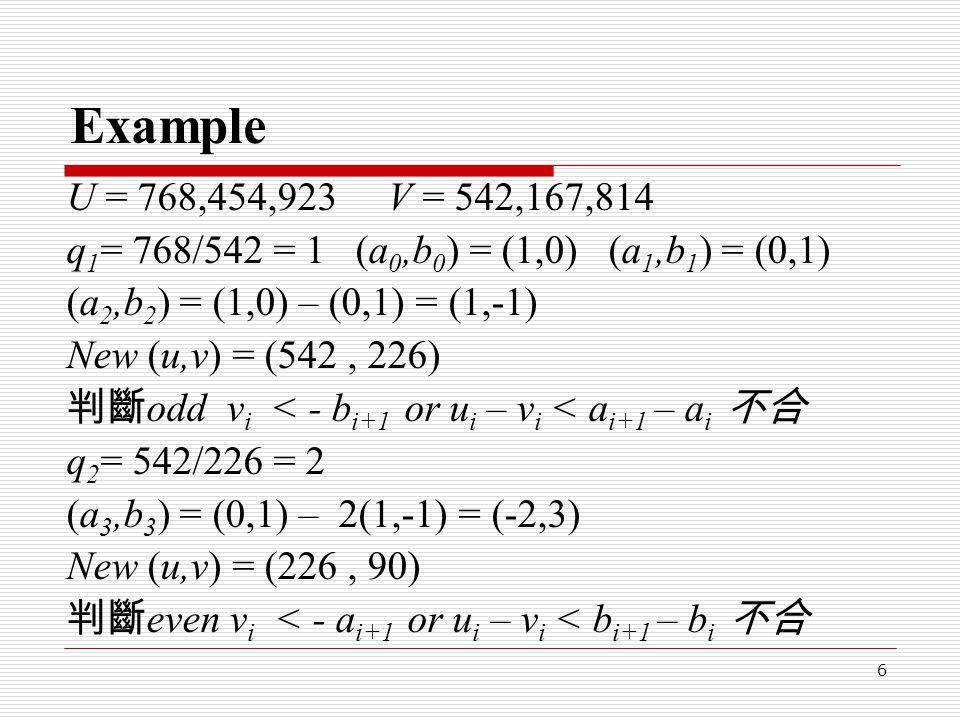 7 Example q 3 = 226/90= 2 (a 4,b 4 ) = (1,-1) – 2(-2,3) = (5,-7) New (u,v) = (90, 46) 判斷 odd v i < - b i+1 or u i – v i < a i+1 – a i 不合 q 4 = 90/46 = 1 (a 5,b 5 ) = (-2,3) – 1(5,-7) = (-7,10) New (u,v) = (46, 44) 判斷 even v i < - a i+1 or u i – v i < b i+1 – b i 合