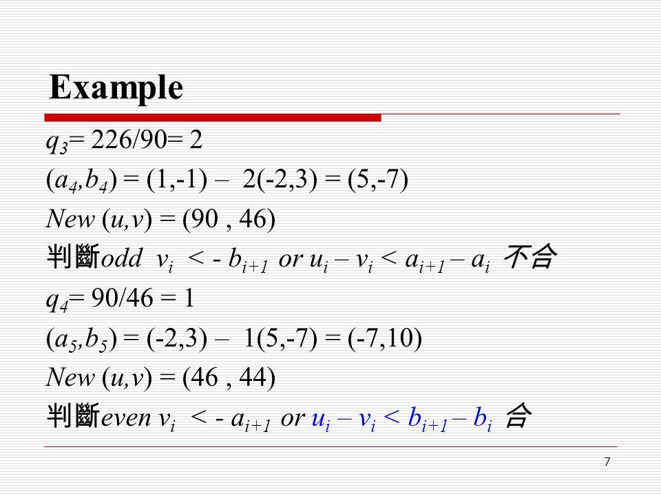 7 Example q 3 = 226/90= 2 (a 4,b 4 ) = (1,-1) – 2(-2,3) = (5,-7) New (u,v) = (90, 46) 判斷 odd v i < - b i+1 or u i – v i < a i+1 – a i 不合 q 4 = 90/46 =