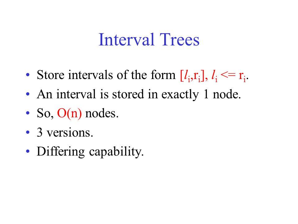 Version 1 Store intervals of the form [l i,r i ], l i <= r i.
