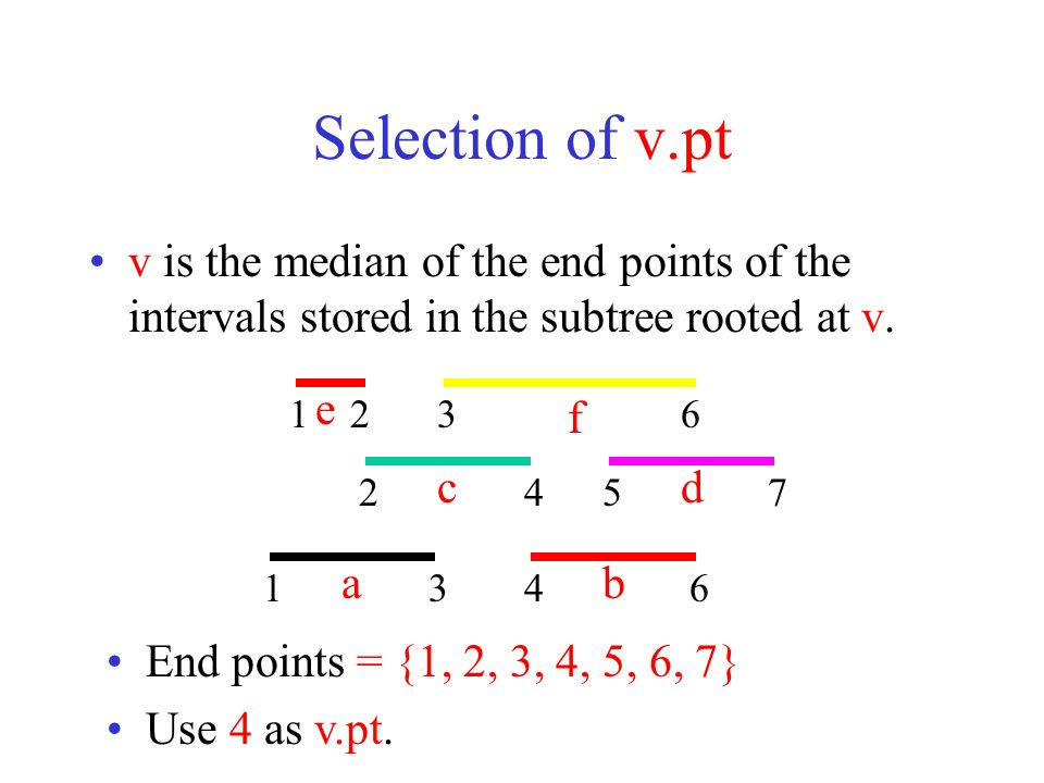 Selection of v.pt With median selection, tree height is O(log n).