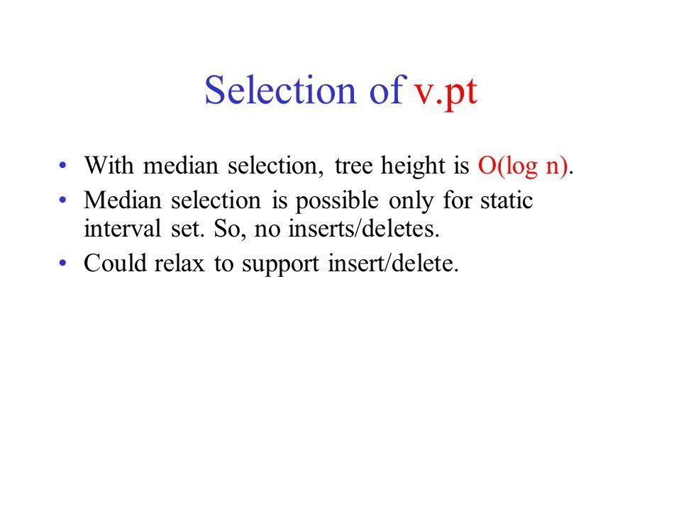 All intervals that contain d 4 LR v d =  v.pt  All intervals in v.  Done!
