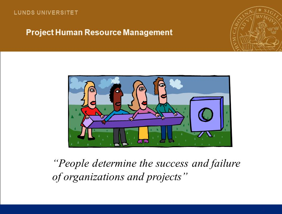 4 L U N D S U N I V E R S I T E T Project Human Resource Management People determine the success and failure of organizations and projects