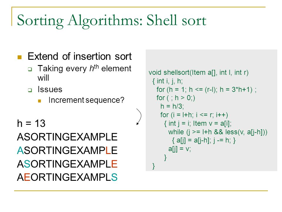Sorting Algorithms: Shell sort Extend of insertion sort  Taking every h th element will  Issues Increment sequence.