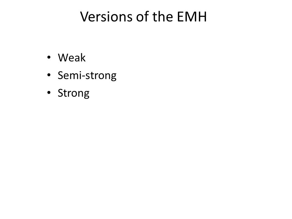 Weak Semi-strong Strong Versions of the EMH