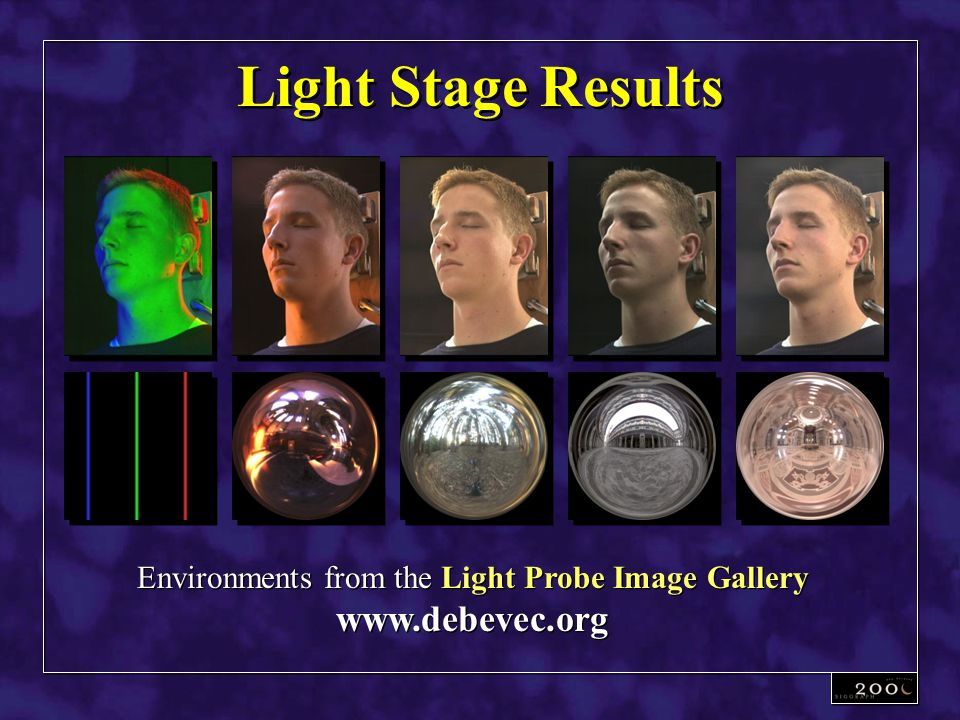 Light Stage Results Environments from the Light Probe Image Gallery www.debevec.org Environments from the Light Probe Image Gallery www.debevec.org
