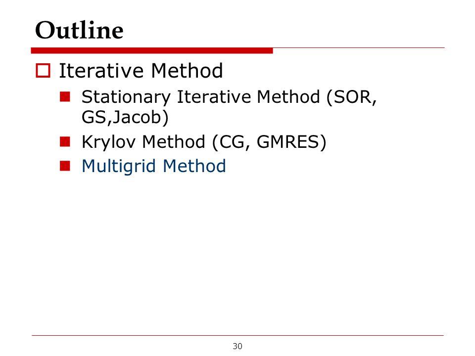 Outline  Iterative Method Stationary Iterative Method (SOR, GS,Jacob) Krylov Method (CG, GMRES) Multigrid Method 30