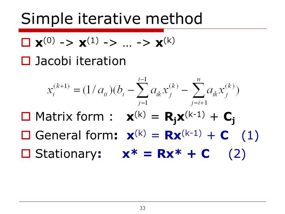 Simple iterative method  x (0) -> x (1) -> … -> x (k)  Jacobi iteration  Matrix form : x (k) = R j x (k-1) + C j  General form: x (k) = Rx (k-1) +