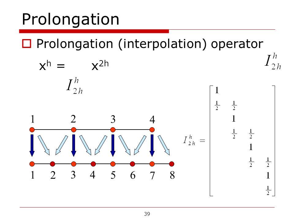 Prolongation  Prolongation (interpolation) operator x h = x 2h 1 2 3 4 56 7 8 1 2 3 4 39