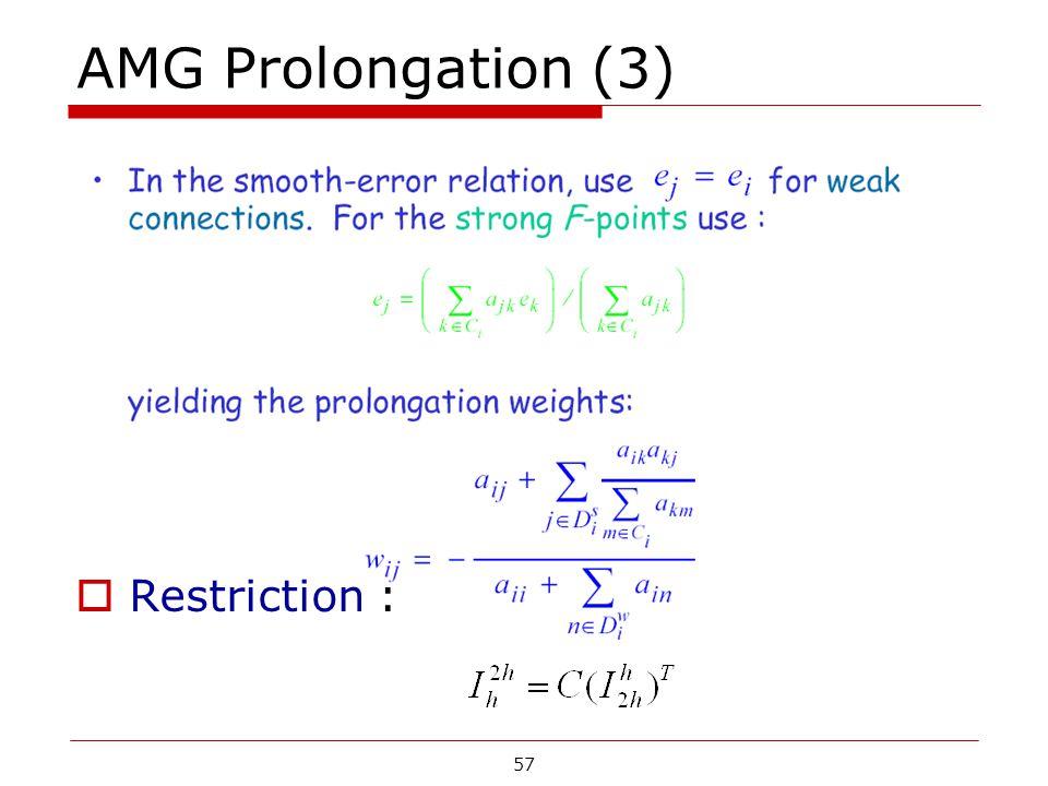AMG Prolongation (3)  Restriction : 57