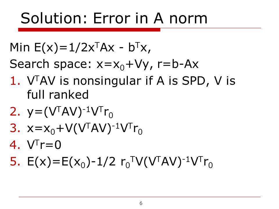 6 Solution: Error in A norm Min E(x)=1/2x T Ax - b T x, Search space: x=x 0 +Vy, r=b-Ax 1.V T AV is nonsingular if A is SPD, V is full ranked 2.y=(V T