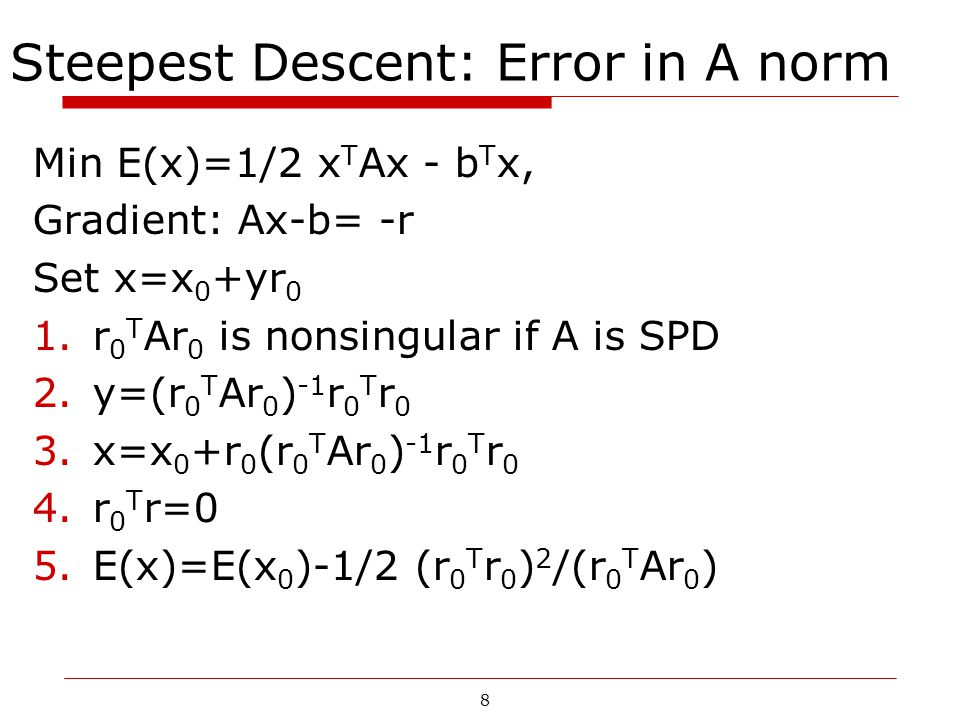 8 Steepest Descent: Error in A norm Min E(x)=1/2 x T Ax - b T x, Gradient: Ax-b= -r Set x=x 0 +yr 0 1.r 0 T Ar 0 is nonsingular if A is SPD 2.y=(r 0 T
