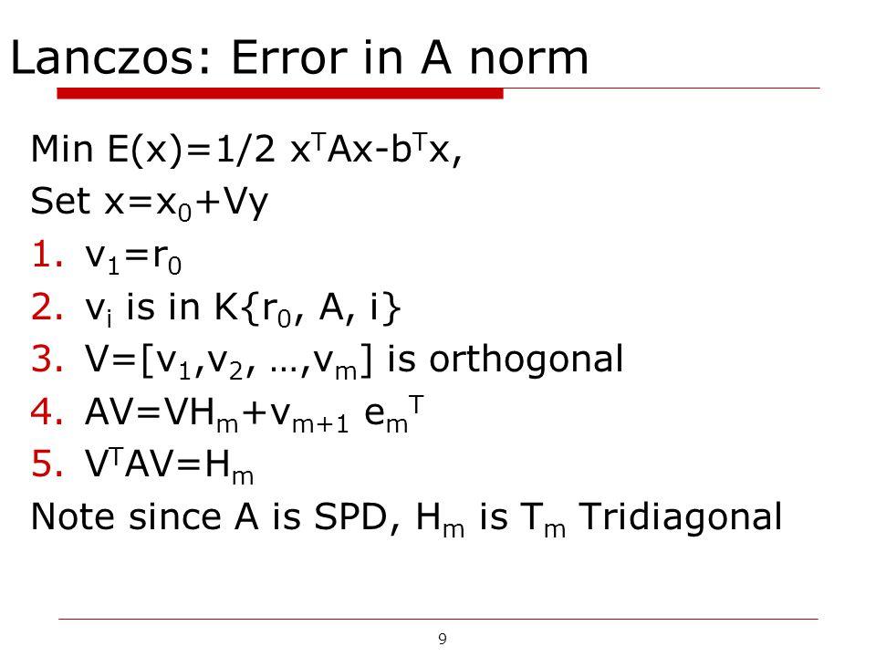 9 Lanczos: Error in A norm Min E(x)=1/2 x T Ax-b T x, Set x=x 0 +Vy 1.v 1 =r 0 2.v i is in K{r 0, A, i} 3.V=[v 1,v 2, …,v m ] is orthogonal 4.AV=VH m