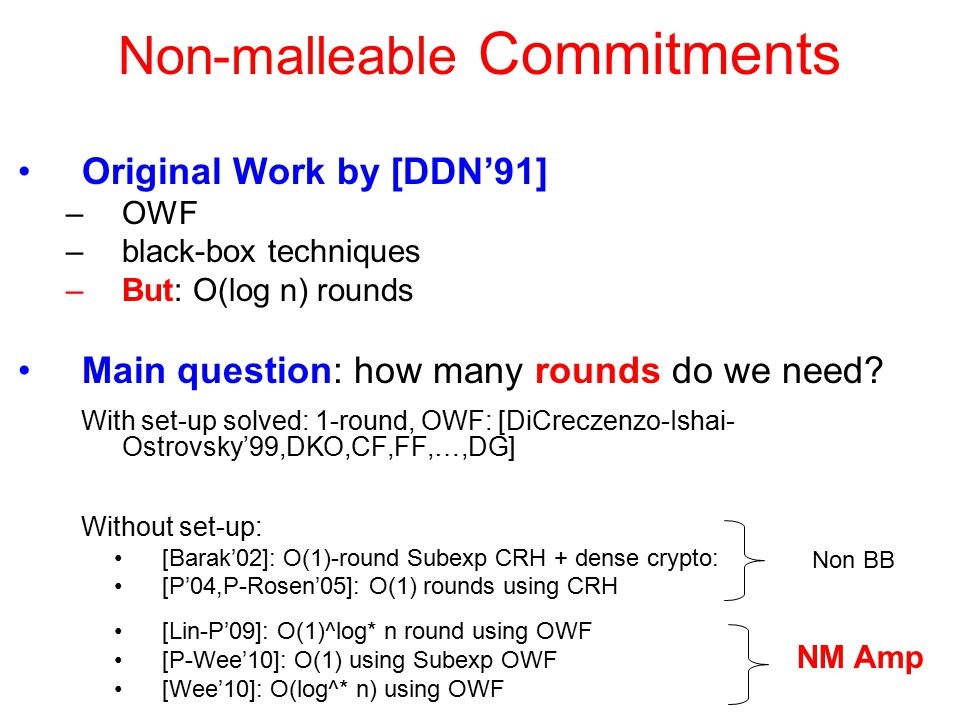 Non-malleable Commitments Original Work by [DDN'91] –OWF –black-box techniques –But: O(log n) rounds Main question: how many rounds do we need.