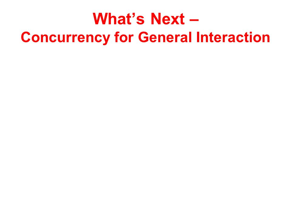 What's Next – Concurrency for General Interaction