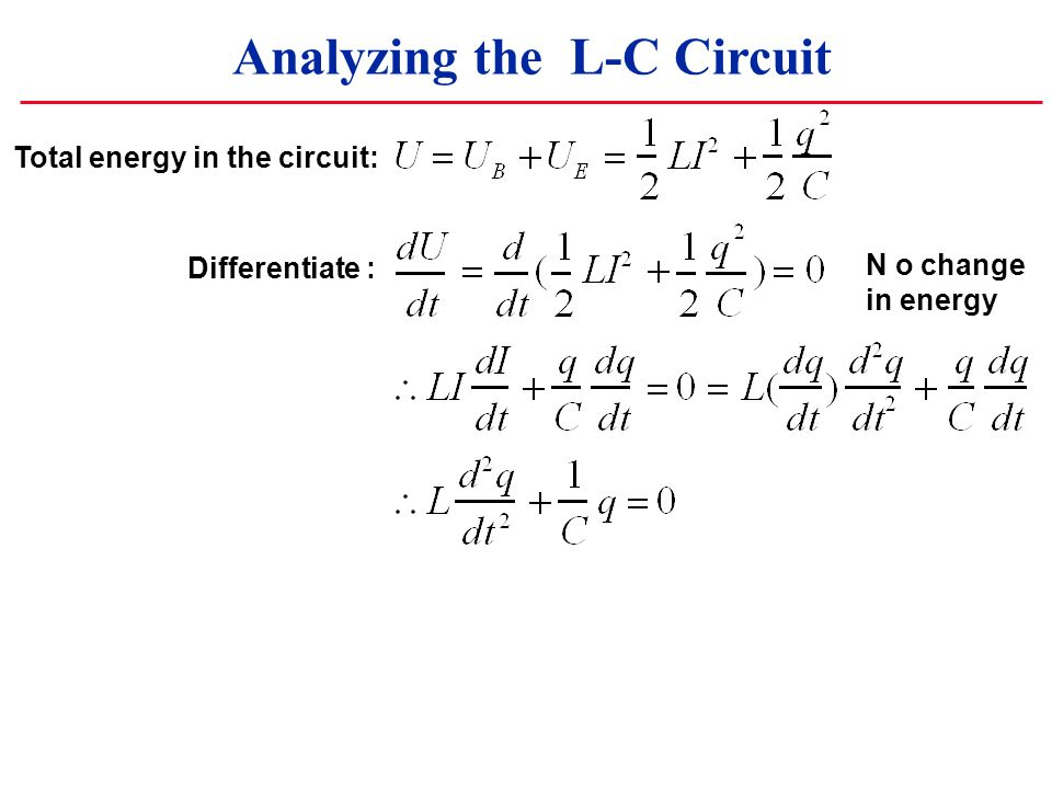 Analyzing the L-C Circuit Total energy in the circuit: Differentiate : N o change in energy