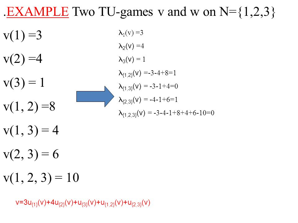 .EXAMPLE Two TU-games v and w on N={1,2,3} v(1) =3 v(2) =4 v(3) = 1 v(1, 2) =8 v(1, 3) = 4 v(2, 3) = 6 v(1, 2, 3) = 10  1 (v) =3  2 (v) =4  3 (v) =