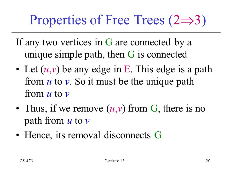 CS 473Lecture 1320 Properties of Free Trees (2  3) If any two vertices in G are connected by a unique simple path, then G is connected Let (u,v) be any edge in E.