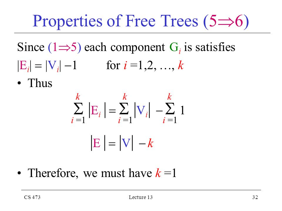 CS 473Lecture 1332 Properties of Free Trees (5  6) Since (1  5) each component G i is satisfies |E i |  |V i |  1 for i =1,2, , k Thus Therefore, we must have k =1  | E i |   | V i |   1 i =1 k k k | E |  | V |  k
