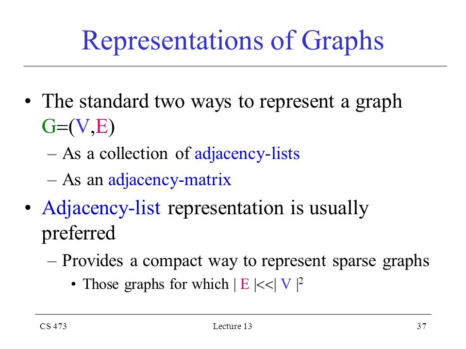 CS 473Lecture 1337 Representations of Graphs The standard two ways to represent a graph G  (V,E) –As a collection of adjacency-lists –As an adjacency-matrix Adjacency-list representation is usually preferred –Provides a compact way to represent sparse graphs Those graphs for which | E |  | V | 2
