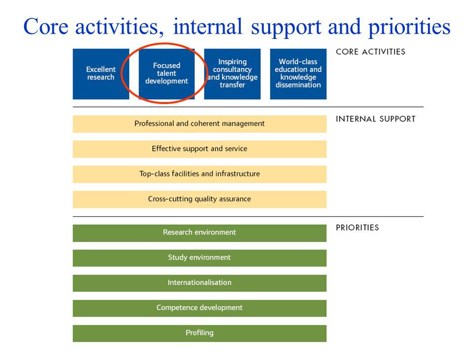 Core activities, internal support and priorities