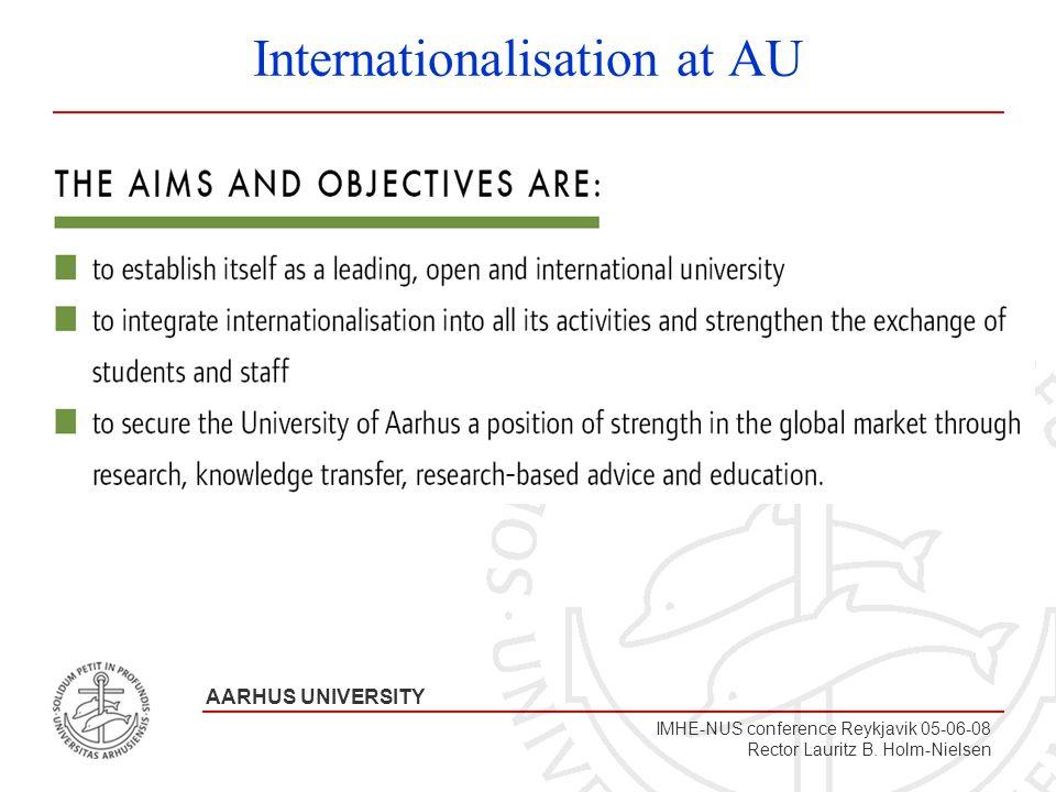 A A R H U S U N I V E R S I T E T AARHUS UNIVERSITY IMHE-NUS conference Reykjavik 05-06-08 Rector Lauritz B.