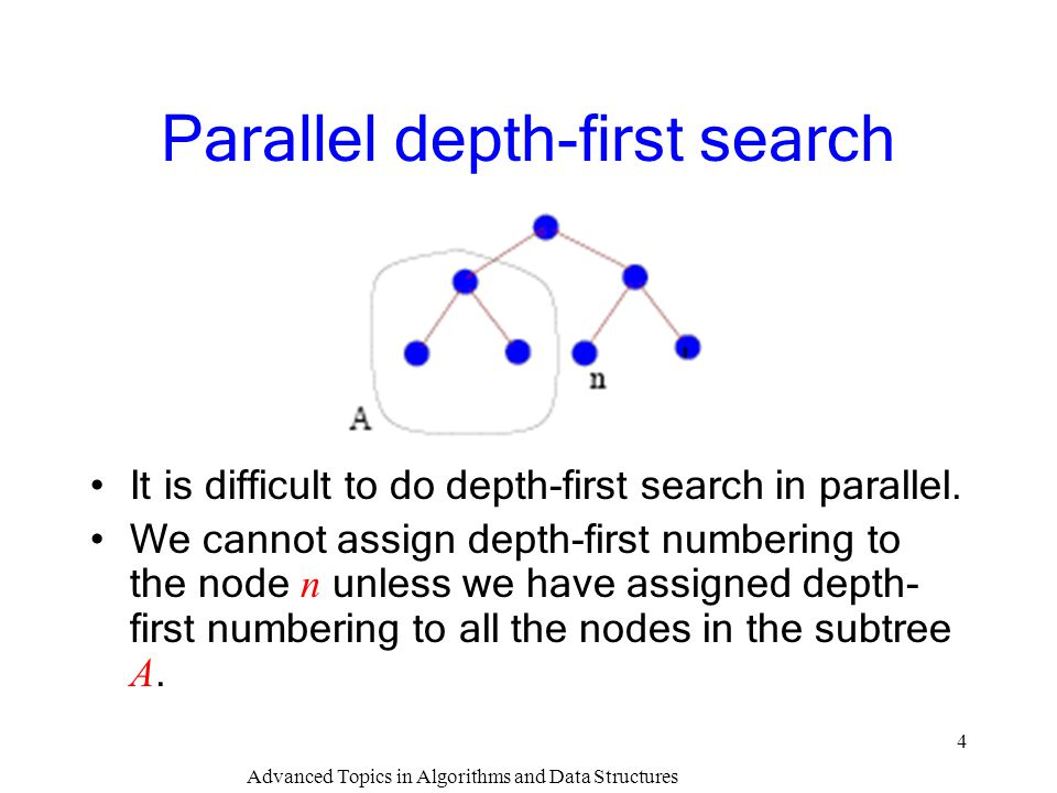Advanced Topics in Algorithms and Data Structures 4 Parallel depth-first search It is difficult to do depth-first search in parallel. We cannot assign