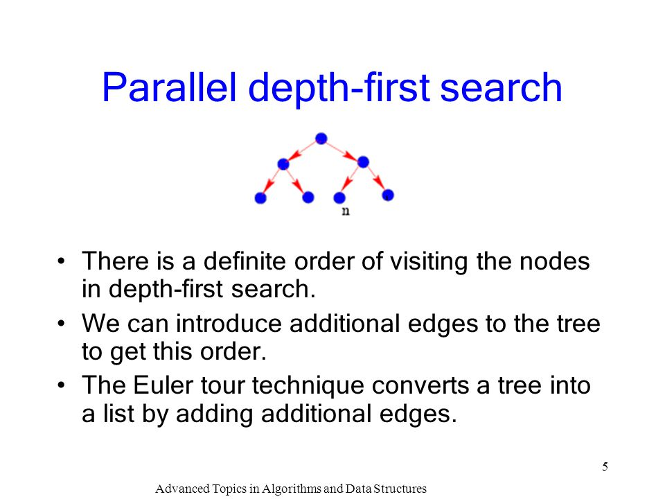 Advanced Topics in Algorithms and Data Structures 5 Parallel depth-first search There is a definite order of visiting the nodes in depth-first search.
