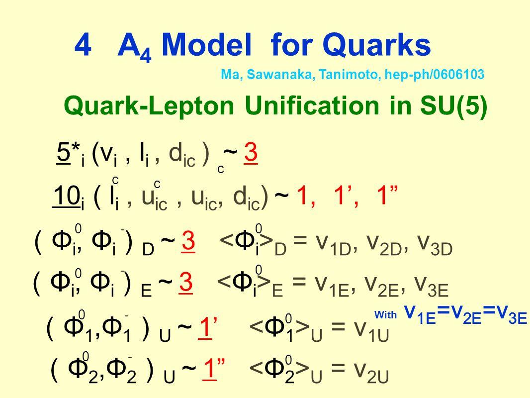 4 A 4 Model for Quarks Ma, Sawanaka, Tanimoto, hep-ph/0606103 Quark-Lepton Unification in SU(5) 5* i (ν i, l i, d ic ) ~ 3 c 10 i ( l i, u ic, u ic, d ic ) ~ 1, 1', 1 c c ( Φ i, Φ i ) D ~ 3 D = v 1D, v 2D, v 3D ( Φ i, Φ i ) E ~ 3 E = v 1E, v 2E, v 3E ( Φ 1,Φ 1 ) U ~ 1' U = v 1U 0 0 0 With v 1E =v 2E =v 3E - - - 0 0 ( Φ 2,Φ 2 ) U ~ 1 U = v 2U 0 0 0 -