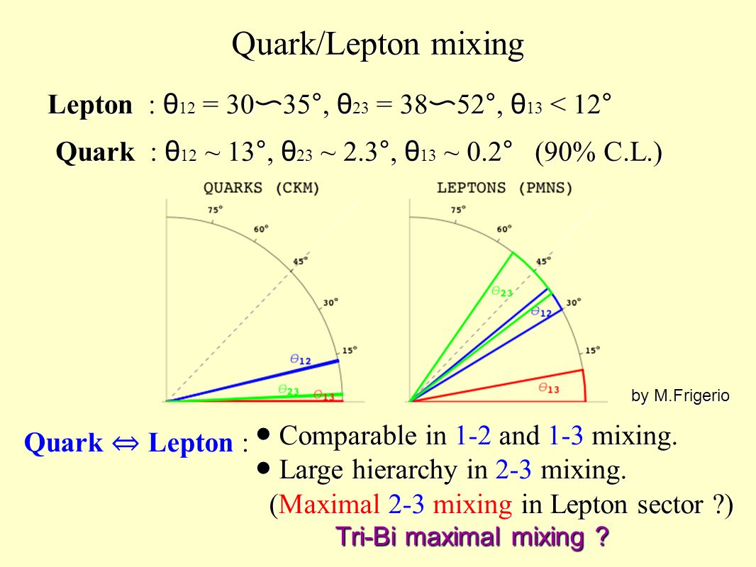 Quark/Lepton mixing Lepton : θ 12 = 30 〜 35°, θ 23 = 38 〜 52°, θ 13 < 12° by M.Frigerio Quark ⇔ Lepton : ● Comparable in 1-2 and 1-3 mixing. ● Large h