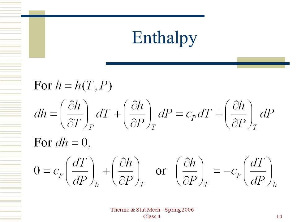 Thermo & Stat Mech - Spring 2006 Class 414 Enthalpy