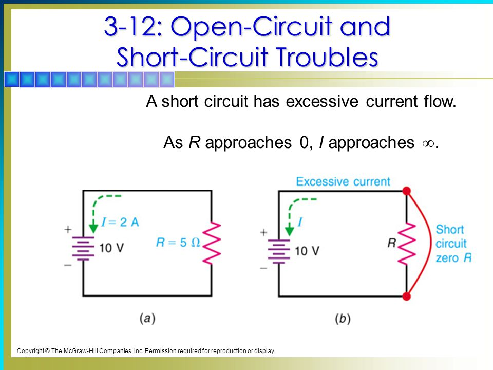 3-12: Open-Circuit and Short-Circuit Troubles A short circuit has excessive current flow.