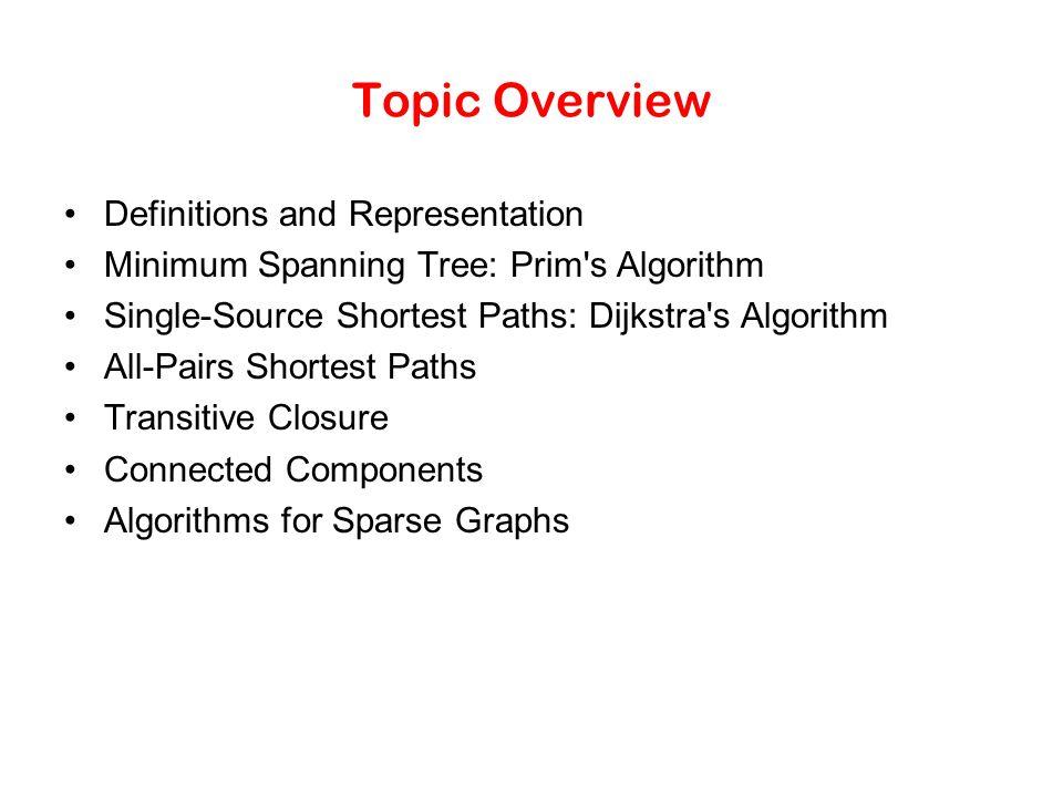 Topic Overview Definitions and Representation Minimum Spanning Tree: Prim's Algorithm Single-Source Shortest Paths: Dijkstra's Algorithm All-Pairs Sho