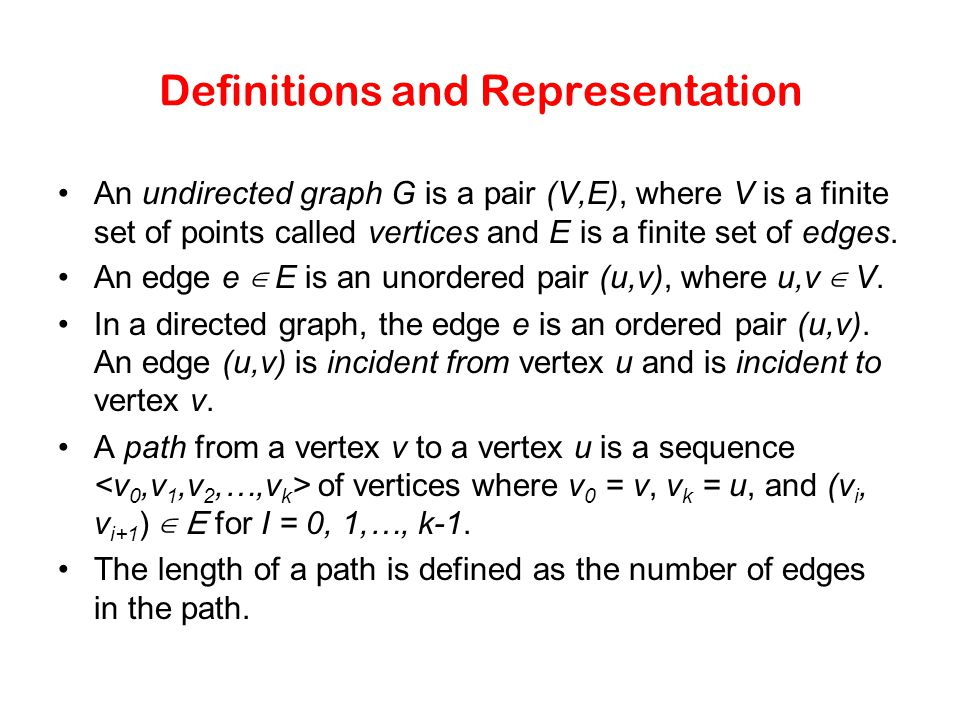 Definitions and Representation An undirected graph G is a pair (V,E), where V is a finite set of points called vertices and E is a finite set of edges
