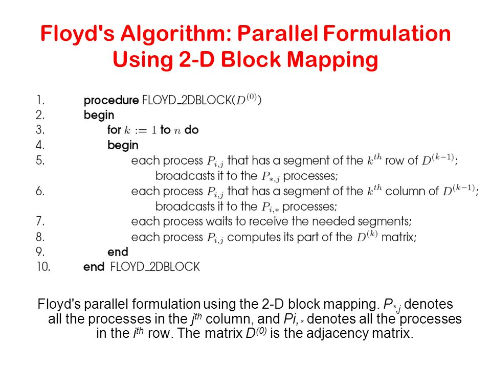Floyd's Algorithm: Parallel Formulation Using 2-D Block Mapping Floyd's parallel formulation using the 2-D block mapping. P *,j denotes all the proces