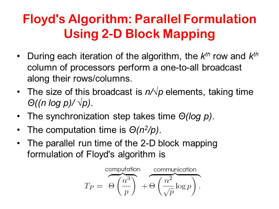 Floyd's Algorithm: Parallel Formulation Using 2-D Block Mapping During each iteration of the algorithm, the k th row and k th column of processors per