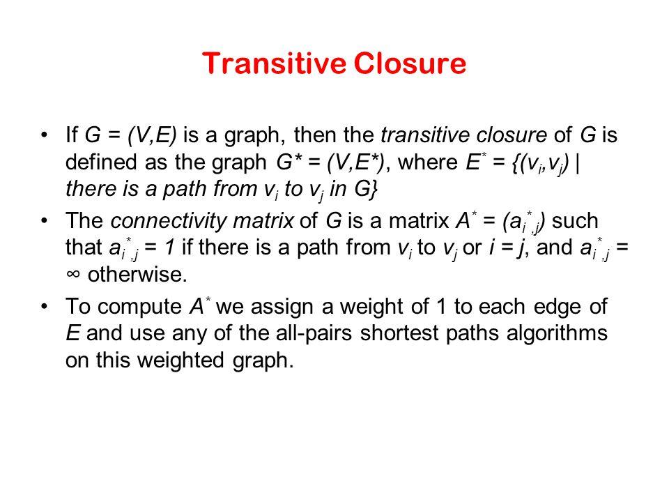 Transitive Closure If G = (V,E) is a graph, then the transitive closure of G is defined as the graph G* = (V,E*), where E * = {(v i,v j ) | there is a
