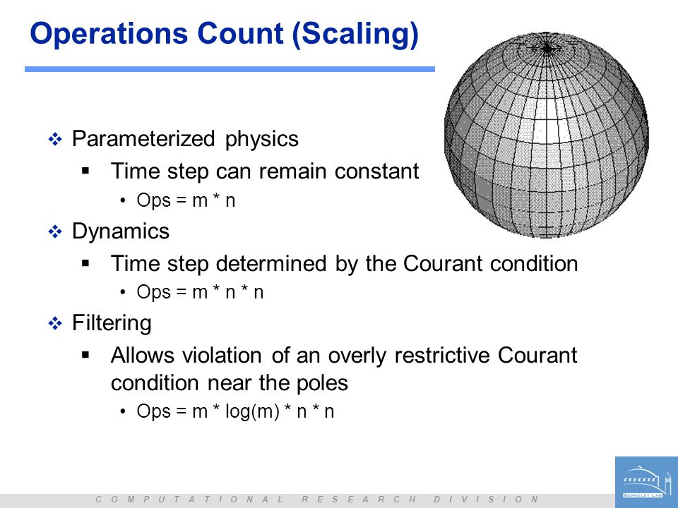 C O M P U T A T I O N A L R E S E A R C H D I V I S I O N Operations Count (Scaling)  Parameterized physics  Time step can remain constant Ops = m *