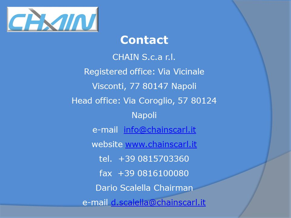 Contact CHAIN S.c.a r.l.