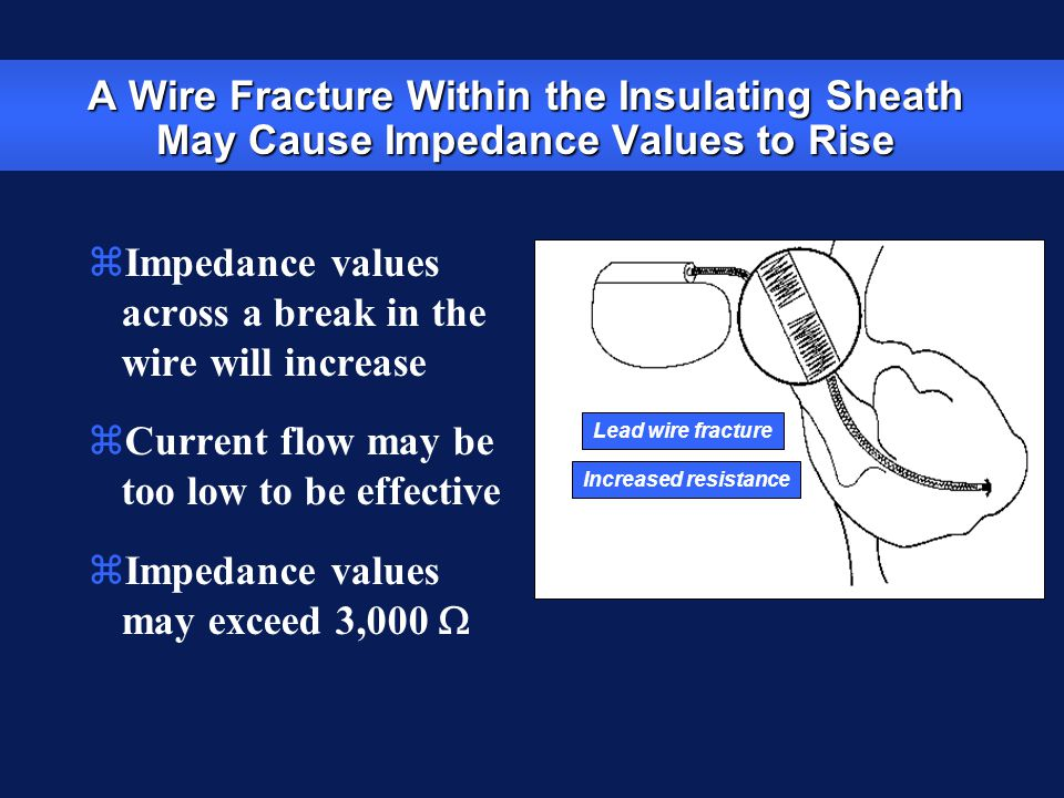 A Wire Fracture Within the Insulating Sheath May Cause Impedance Values to Rise zImpedance values across a break in the wire will increase zCurrent fl