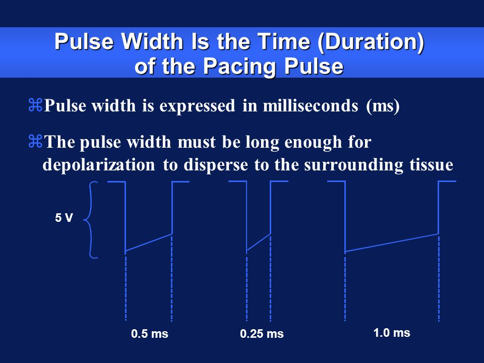 Pulse Width Is the Time (Duration) of the Pacing Pulse zPulse width is expressed in milliseconds (ms) zThe pulse width must be long enough for depolar