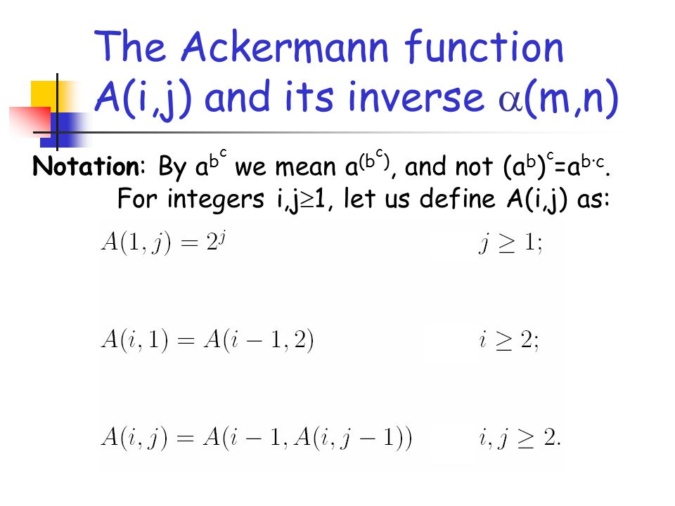 The Ackermann function A(i,j) and its inverse  (m,n) Notation: By a b c we mean a (b c ), and not (a b ) c =a b·c.