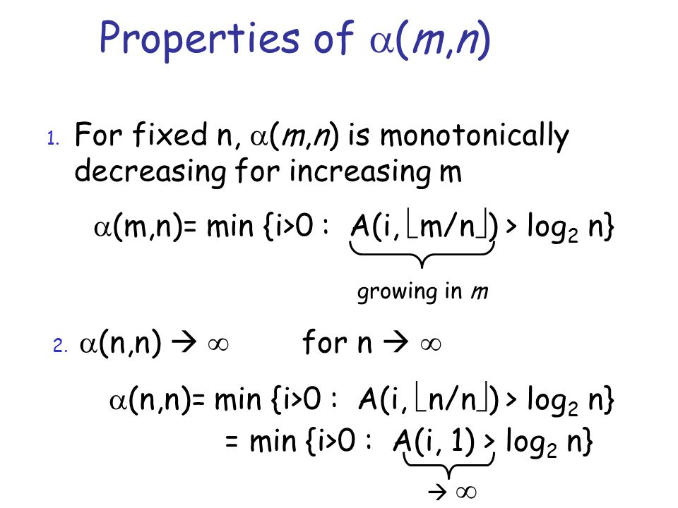 Properties of  (m,n) 1.