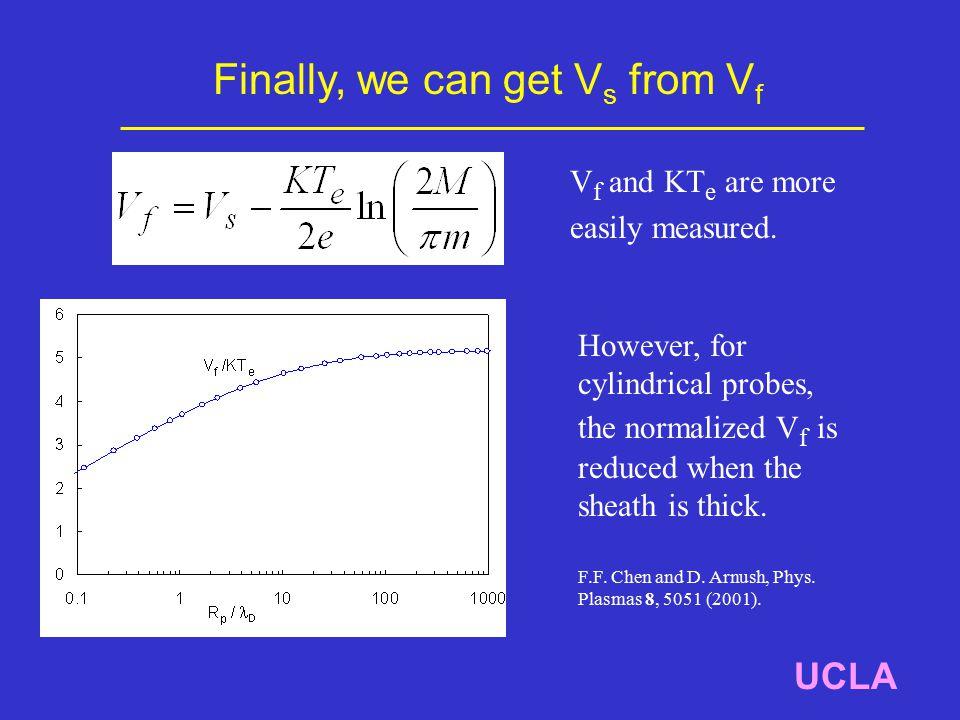 Finally, we can get V s from V f UCLA V f and KT e are more easily measured.