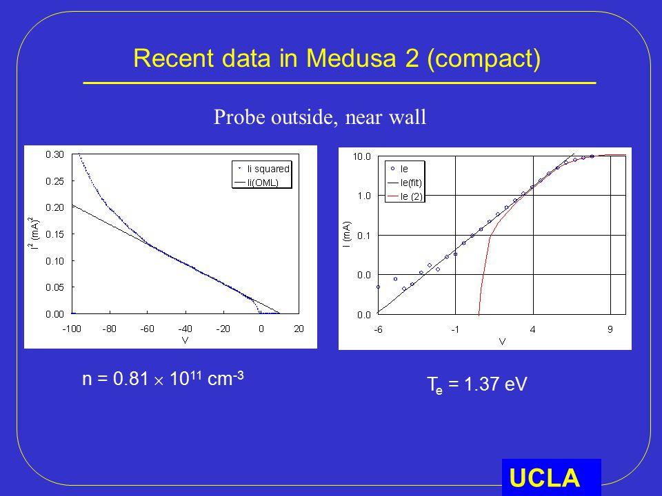 Recent data in Medusa 2 (compact) UCLA n = 0.81  10 11 cm -3 T e = 1.37 eV Probe outside, near wall