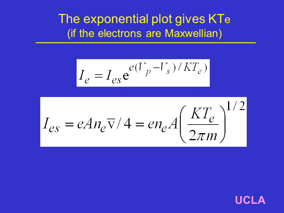 The exponential plot gives KT e (if the electrons are Maxwellian) UCLA